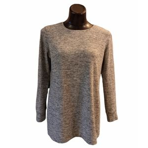 Roots Long Sleeve Top w Side Slits Med Gray